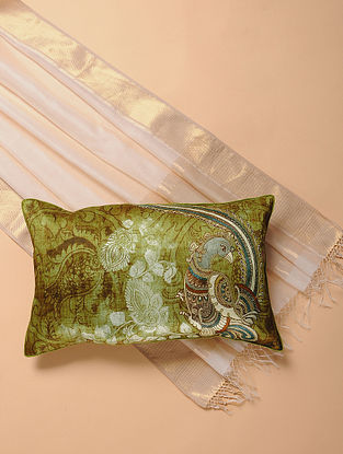 Green Printed and Embroidered Kalamkari Cushion Cover (12in x 20in)