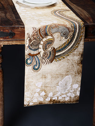 Ivory Printed and Embroidered Kalamkari Table Runner (71in x 13in)