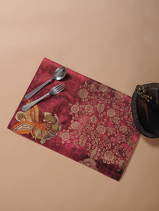 Maroon Printed and Embroidered Kalamkari Place Mat (18in x 12in)