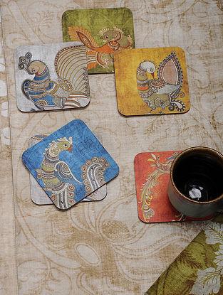 Multicolored Printed MDF and Cork Kalamkari Coasters (Set of 6) (4in x 4in)