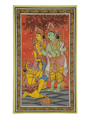 Rama, Laxman, Hanuman Pattachitra on Canvas 22in x 13in
