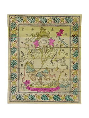 Siddhi Vinayak Pattachitra on Palm Leaf 10.2in x 8.2in
