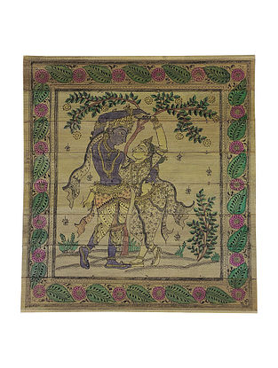 Radha Krishna Pattachitra on Palm Leaf 10.2in x 9.2in