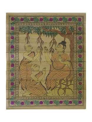 Budha Giving Advice to Shisya Pattachitra on Palm Leaf 12.5in x 10.2in