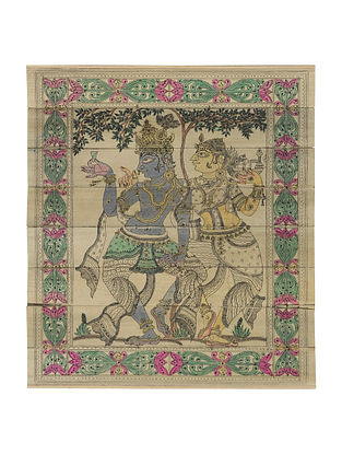 Radha Krishna Pattachitra on Palm Leaf 9.6in x 8.5in