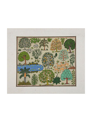 Jungle Scene Pattachitra on Silk 13.5in x 16in