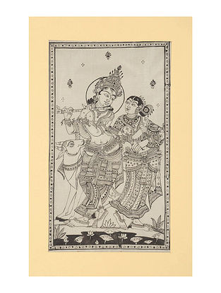 Radha Krishna Pattachitra on Silk 15in x 9.6in