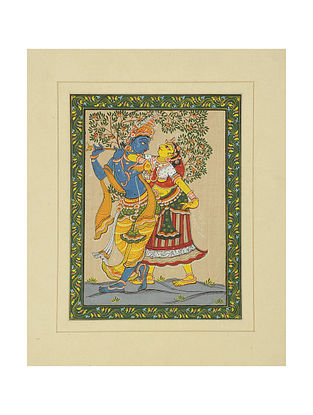 Radha Krishna Pattachitra on Silk 14in x 11in