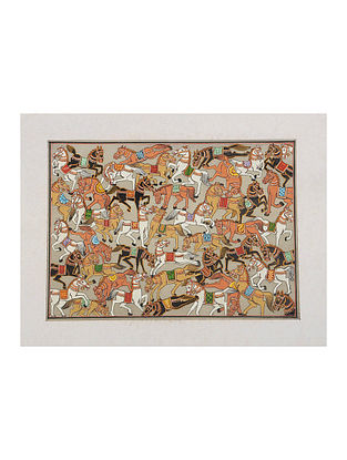 Different Types of Horses Pattachitra on Silk 13.5in x 17.6in