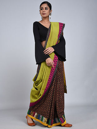 Lime-Purple Handloom Benarasi Cotton Constructed Saree