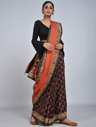 Orange-Black Handloom Benarasi Cotton Constructed Saree