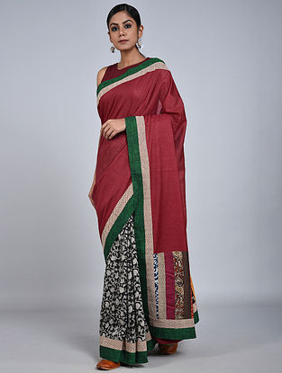 Maroon-Green Handloom Benarasi Cotton Silk Constructed Saree