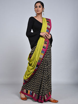 Lime-Black Handloom Benarasi Cotton Constructed Saree