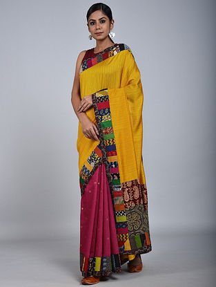 Yellow-Pink Handloom Benarasi Cotton Silk Constructed Saree
