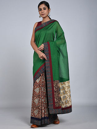 Green-Red Handloom Benarasi Cotton Silk Constructed Saree