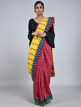 Yellow-Pink Handloom Benarasi Cotton Constructed Saree