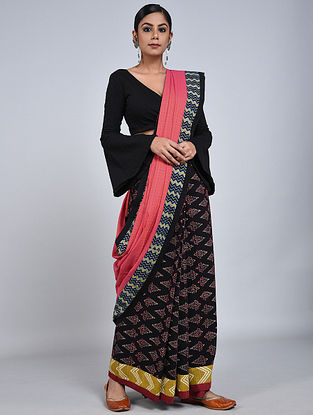 Pink-Black Handloom Benarasi Cotton Constructed Saree