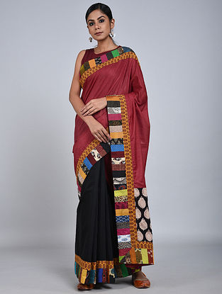 Pink-Black Handloom Benarasi Cotton Silk Constructed Saree