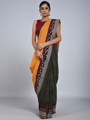 Mustard-Green Handloom Benarasi Cotton Silk Constructed Saree