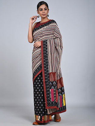 Ivory-Black Handloom Benarasi Cotton Constructed Saree