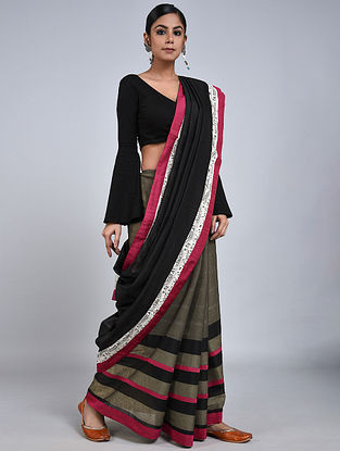 Black-Grey Handloom Benarasi Cotton Silk Constructed Saree