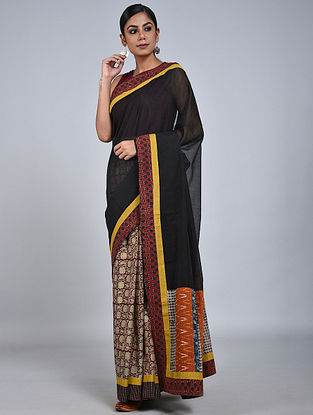 Black-Red Handloom Benarasi Cotton Silk Constructed Saree