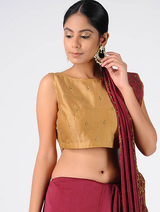 Mustard Hand-embroidered Chanderi Blouse