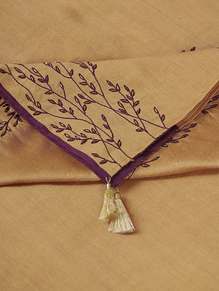 Mustard Hand-embroidered Chanderi Dupatta