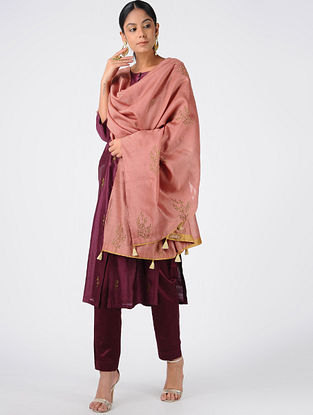 Peach Hand-embroidered Chanderi Dupatta