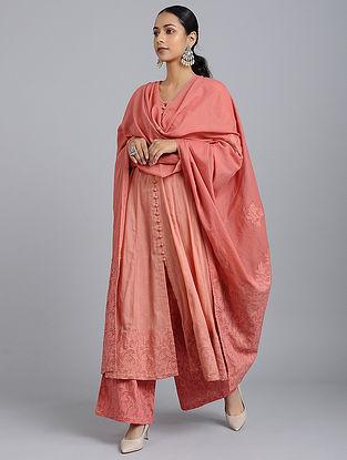 Pink Applique Cotton Dupatta