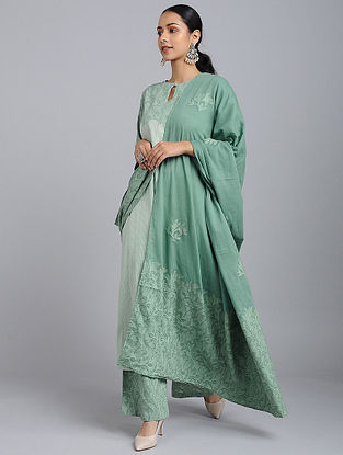 Green Applique Cotton Dupatta
