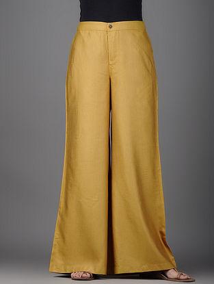 Mustard Cotton Silk Palazzos