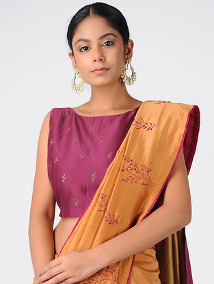Magenta Hand-embroidered Chanderi Blouse