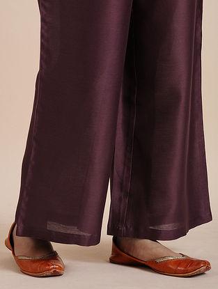 Burgundy Chanderi Pants