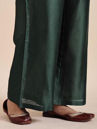 Bottle Green Chanderi Pants