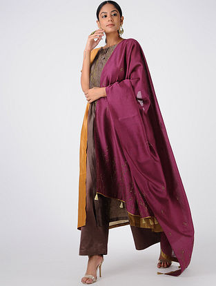 Magenta Hand-embroidered Chanderi Dupatta