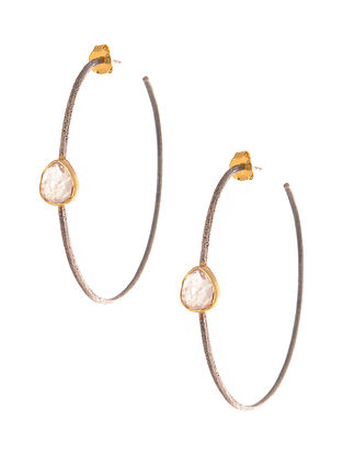 Dual Tone Earrings with Rainbow Moonstone