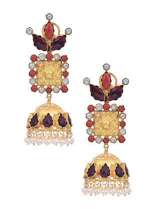 Gold Plated Silver Earrings with Garnet, Coral and Pearls