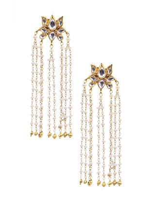 Gold Plated Silver Earrings with Crystal and Pearls