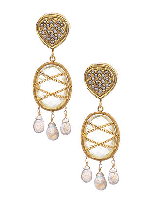 Gold Plated Silver Earrings with Labradorite and Pearls