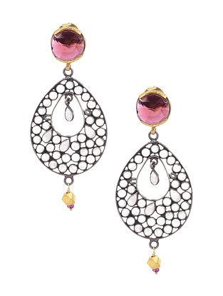 Dual Tone Glass Silver Earrings with Garnet