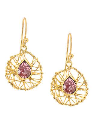 Garnet Gold-plated Silver Earrings