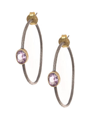Amethyst Dual Tone Gold-plated Silver Earrings