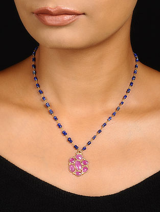 Lapis Lazuli and Ruby Gold-plated Silver Necklace