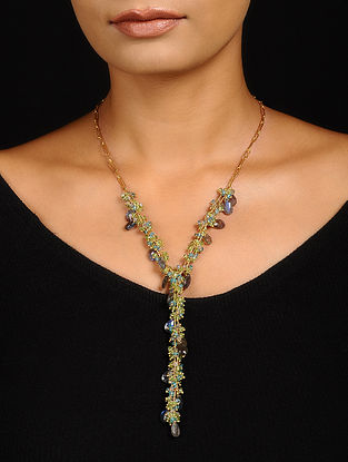 Labradorite and Apatite Gold-plated Silver Necklace