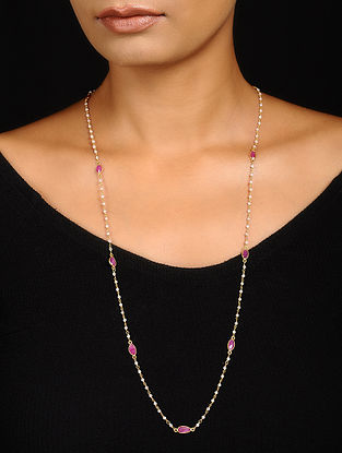 Rainbow Moonstone and Ruby Gold-plated Silver Necklace