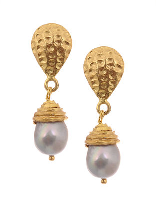Gold-plated Pearl Silver Earrings