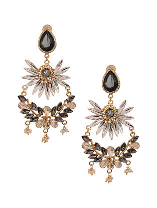 Black Brown Gold Plated Handcrafted Earrings with Pearls