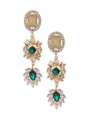 Green Gold Plated Handcrafted Earrings with Pearls