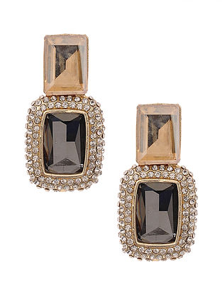 Black Brown Gold Plated Handcrafted Earrings